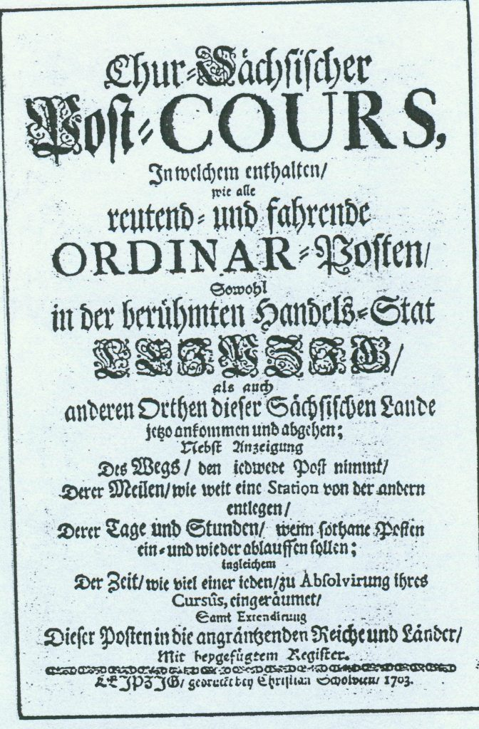 Einband des Post-Kurses von 1703