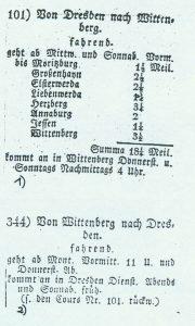 Fahrplan von 1825