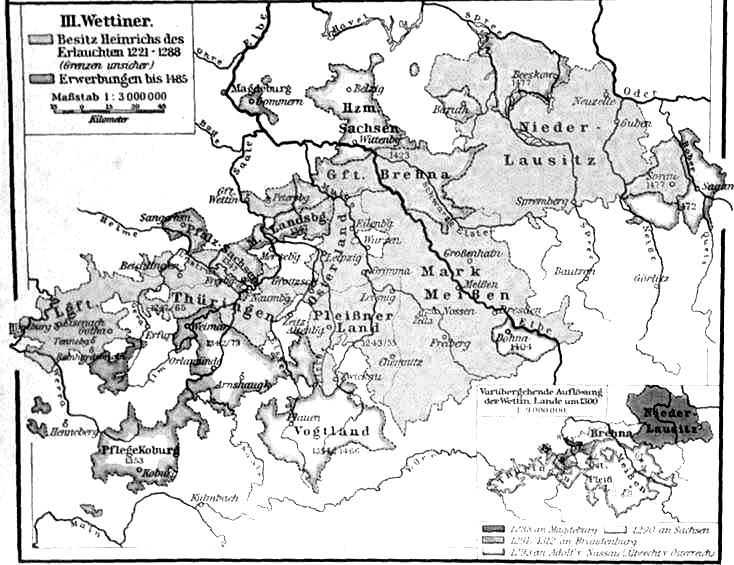 Besitzungen der Wettiner um 1221