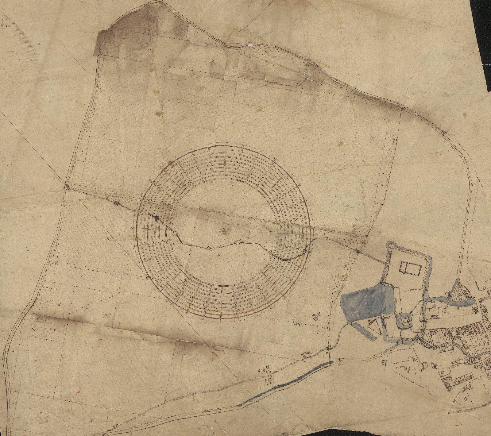 Alter Plan des Ortes und des Schlosses Annaburg und der 1578 zu Anlegung einer Baumschule geschlagenen kreisrunden Rodung von 1600 Ellen im Durchmesser, welche mit zahlreichen Fischbehältern besetzt war (12884 Karten und Risse, Schrank 5, Fach 68,Nr.9dd),